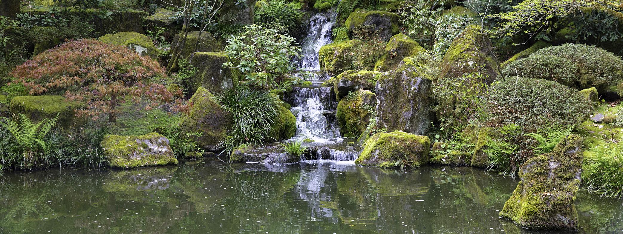 Scenic waterfall in Japanese garden