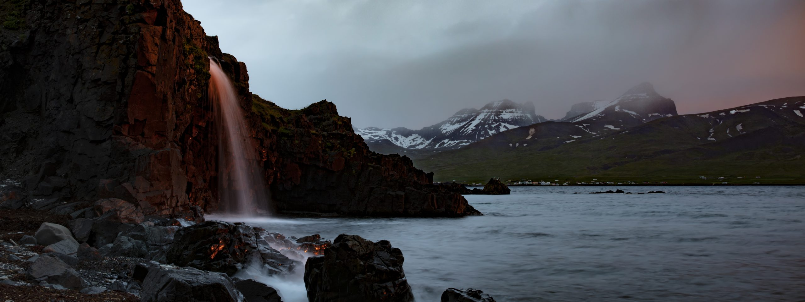 Red waterfall in Iceland